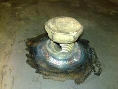 Soldadura de acero con tig  rácor de depósito de combustible de máquina de obra pública