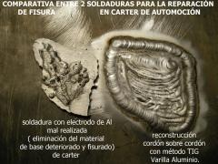 Soldadura de aluminio en c�rter comparando la chapuza hecha por otro soldador y la reparaci�n garantizada que