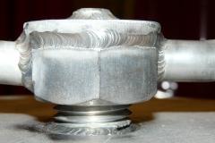Soldadura en acero inoxidable detalle de válvula escoriador soldadura tig