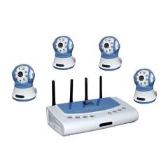 Kit de camaras de vigilancia giratoria inalambricas, visi�n nocturna y detector de movimiento