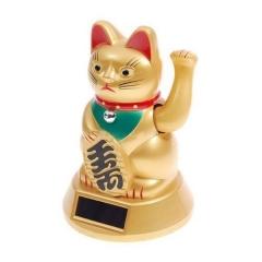 Atrae la suerte y el éxito de la mano del gato solar de la fortuna