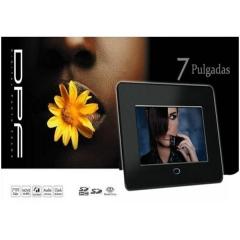 Innovador marco digital negro de 7 pulgadas que reproduce fotos, videos, música y hace funciones de ...