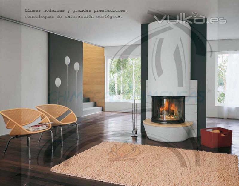Foto chimecal chimeneas l neas modernas y grandes for Chimeneas para calefaccion