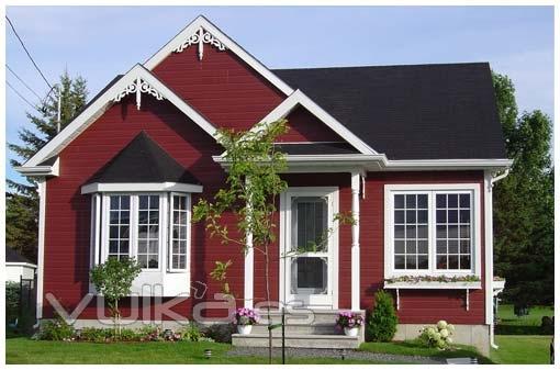 Foto casa de madera con revestimiento exterior en canexel rojo - Casas exteriores ...