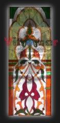 Seccion superior de una vidriera realizada para el frontal de un ascensor con cabina de cristal.medidas ...