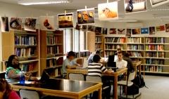 Los estudiantes de nuestro campus trabajando en la biblioteca de la  universidad