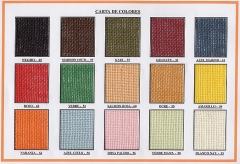 Carta de colores tejidos de yute