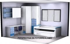 Proyecto habitación juvenil. perspectiva en fotorrealismo