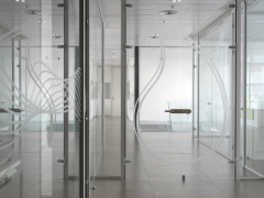 Diseño gráfico y decoración cristales oficinas centrales sanycces