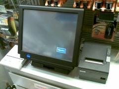Terminal de caja manual, compuesto por pantalla tactil, cajón portamonedas, lector/grabador rfid para abonados, ...