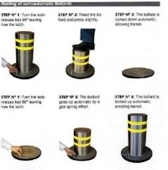 El accionamiento de nuestras pilonas o bolardo mecánicos, es muy sencillo. para subirlos, basta con girar la llave, ...