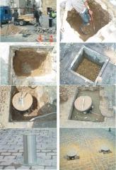 Proceso de la instalaci�n de las pilonas o bolardos.