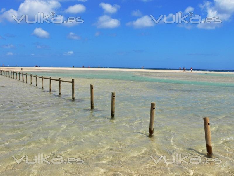 Playa de Sotavento en Fuerteventura. Aquí se celebran los mundiales de KiteSurf