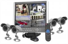 Sistema de video grabación todo en uno: dvr + pantalla + 4 camaras ir