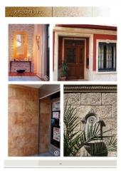 Arquipedra - revestimientos verona gris, plaqueta gris, revestimiento ocre oxid, moldura puerta y ventana en medievo.