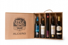 Caja madera 5 vinos alceño