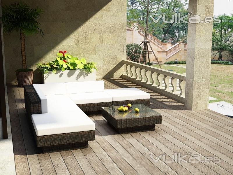Foto conjunto modular en rattan for Conjuntos de jardin muy baratos