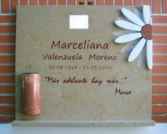Lapida mediterránea en mármol ulldecona pulido, mármol rojo alicante y mármol blanco italia  incrustados.