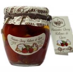 Pimientos cherry rellenos de queso en tarro de 1/4.un delicioso aperitivo listo para tomar. en aceite de oliva.de ...