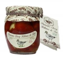 Pimiento cherry relleno de foie en tarro de cristal de 1/4 kg. un delicioso aperitivo listo para tomar. en aceite ...