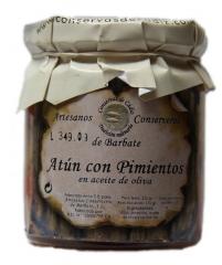 Gourmet - at�n con pimientos en aceite de oliva en frasco de cristal de 225 grs. el sabor de los productos de ...