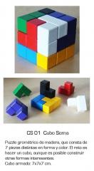 Cubo soma - 7 piezas de madera con formas y colores distintos