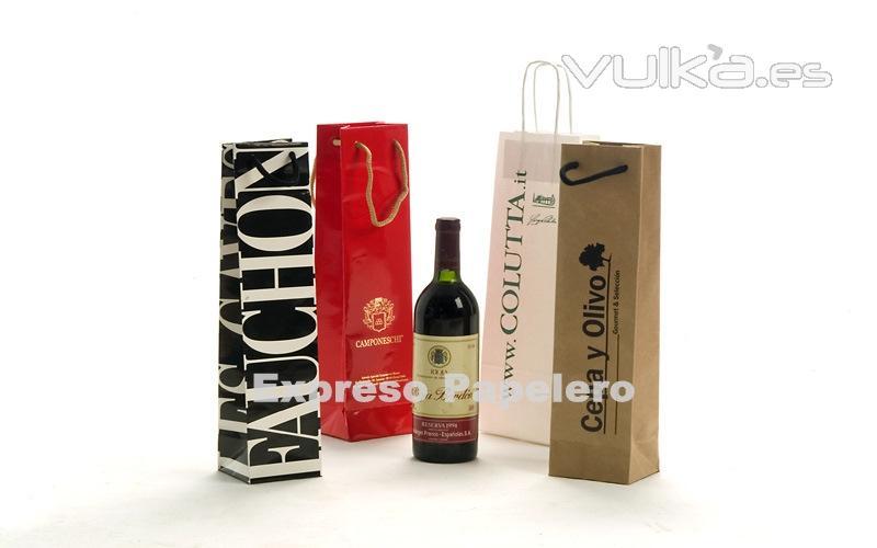 Bolsas de papel publicitarias de lujo para botellas. bolsas para vino.