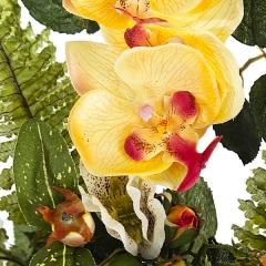 Ramo artificial de flores rosa y phalaenopsis naranja detalle. lallimona.com