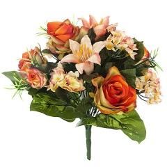 Bouquet artificial de flores rosa llilium hortensia naranja en lallimona.com