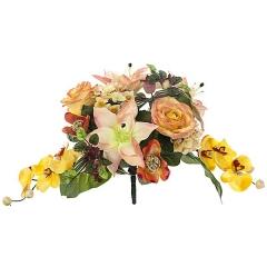 Bouquet artificial de flores liliun orquidea salmon en lallimona.com