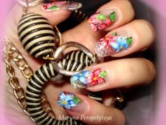 Uñas porcelana acrilico con flores