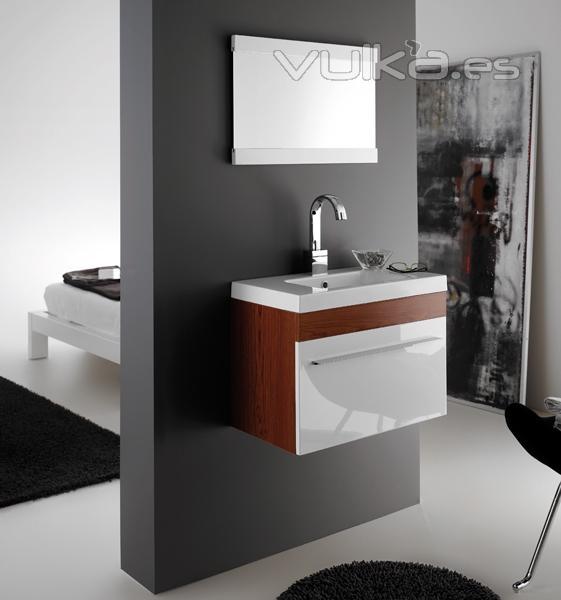 conjunto de mueble de bao bremen con lavabo y espejo en cerezo with muebles de bao pequeo