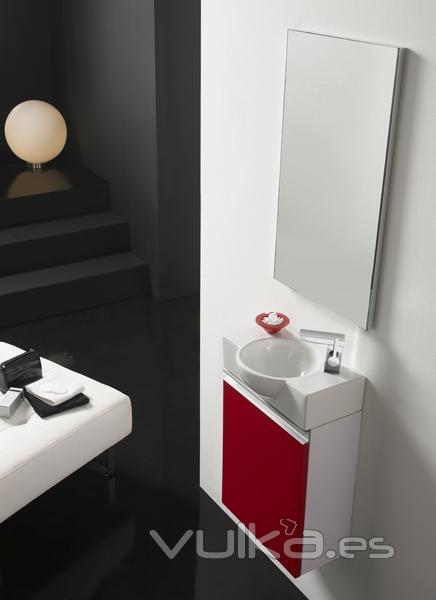 Muebles De Baño Wave:Conjunto de mueble de baño VENECIA con lavabo y espejo en rojo