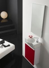 Conjunto de mueble de ba�o venecia con lavabo y espejo en rojo