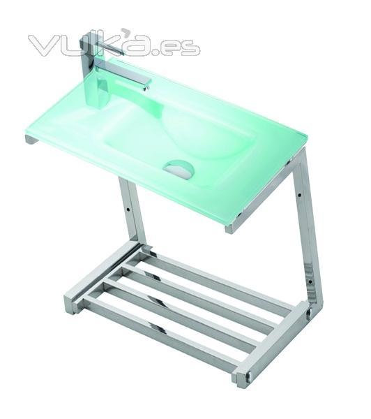Foto lavabo de cristal top aquamarina con soporte de acero con bandeja - Soporte para lavabo ...