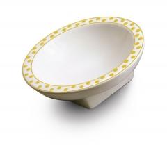 Jabonera de porcelana con puntitos amarillos