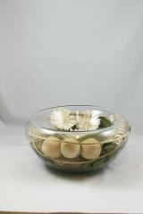 Centro decorativo de cristal con flor seca oasisdecor.com