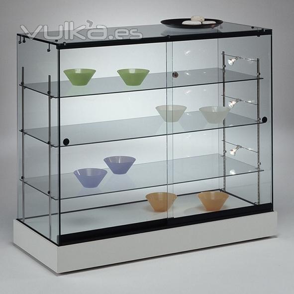 Foto vitrina mostrador de vidrio con iluminaci n base - Vitrinas de madera y vidrio ...