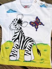 Camiseta Cebra Infantil Pintada a mano con pinturas textiles de alta calidad