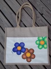 Bolso de Yute pintado a mano con pinturas textiles de alta calidad