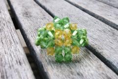 Anillo Rombo Aquamarine verde. Elije los colores que tú quieras! Swarovski y rocalla. Hecho a mano
