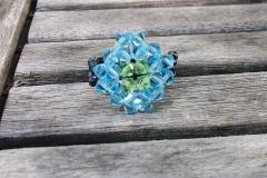 Anillo Rombo Aquamarine azul. Combina los colores que tú quieras! Swarovski, rocalla. Hecho a mano