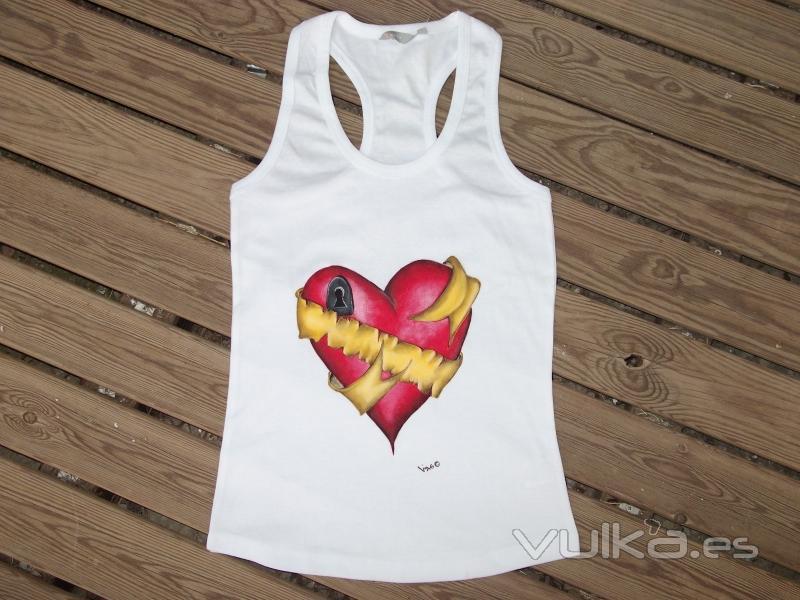 De Pintada Mano Alta A Mujer Pintura Calidad Camiseta Con Textil Corazón HR8xq