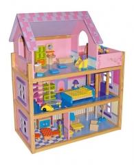 Juguetes de madera www.giocojuguetes.com. casa de muñecas amueblada rosa.