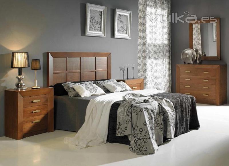 Foto dormitorio en madera de pino macizo en crudo o barnizado - Muebles de madera en crudo ...