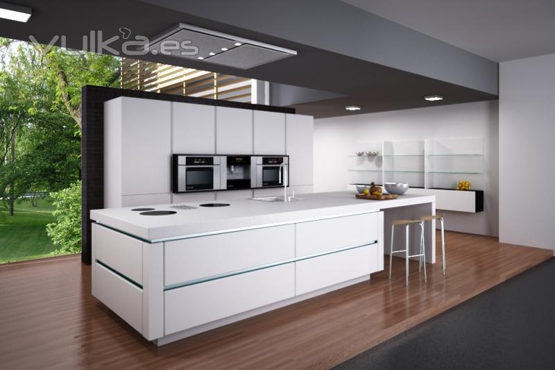 Foto muebles m todo lacado alto brillo y sin tirador - Tiradores de cocina modernos ...