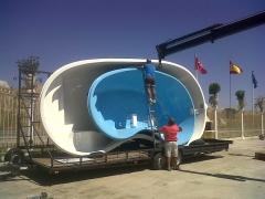 PiscinasFibra Barpool, Transporte y Descarga. Formas, tamaño, color, sistema spa, relax hidromasaje.