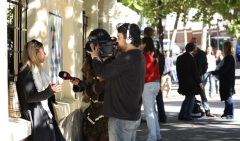 Student being interviewed by cadena 10 regarding mid-term elections