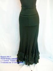 Falda dely,cintura alta con vuelta,recta,3 godes,3 volantes.