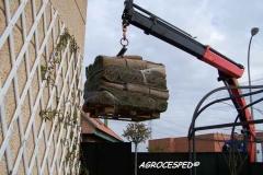 Transporte cesped natural en tepes agrocesped